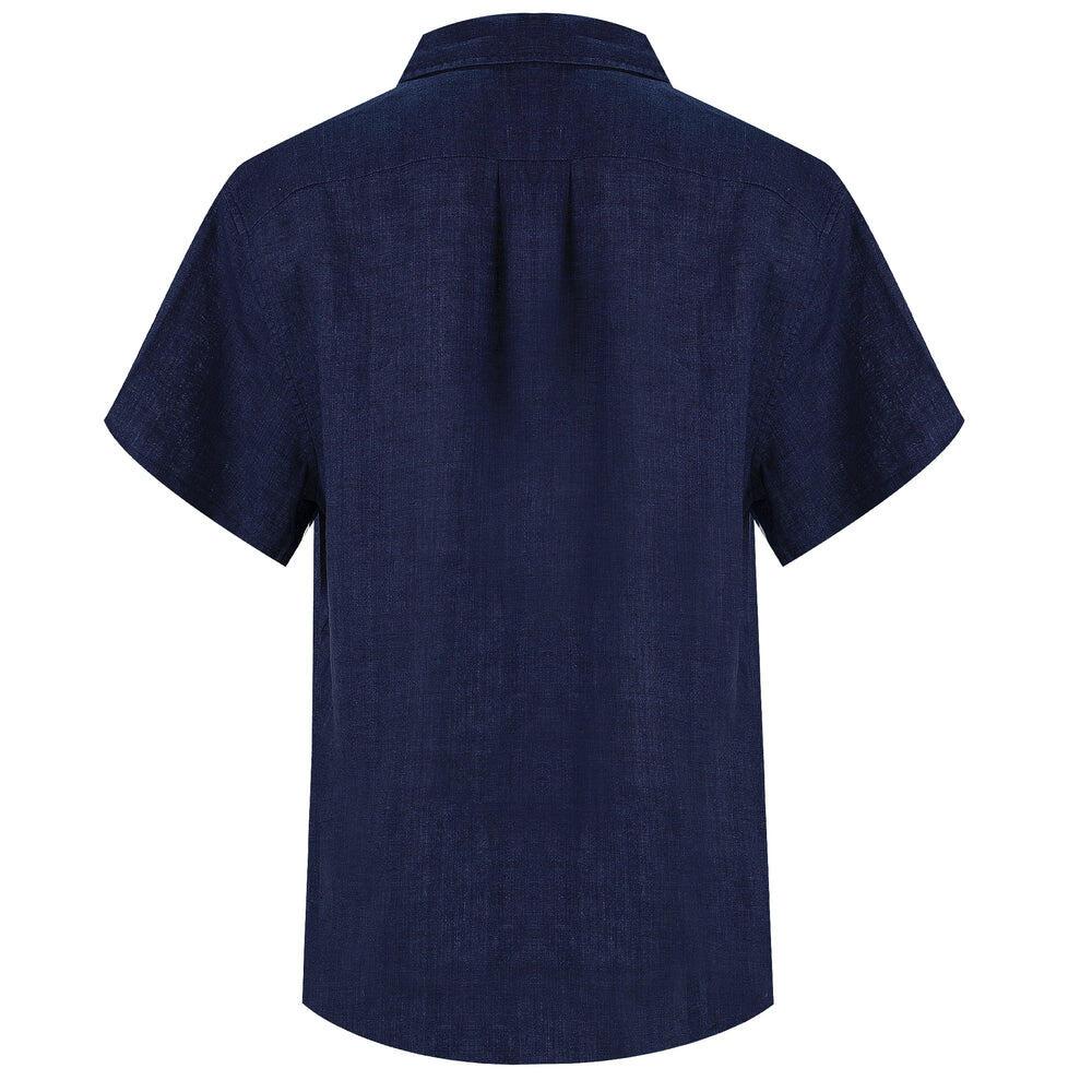 dark blue button up shirt