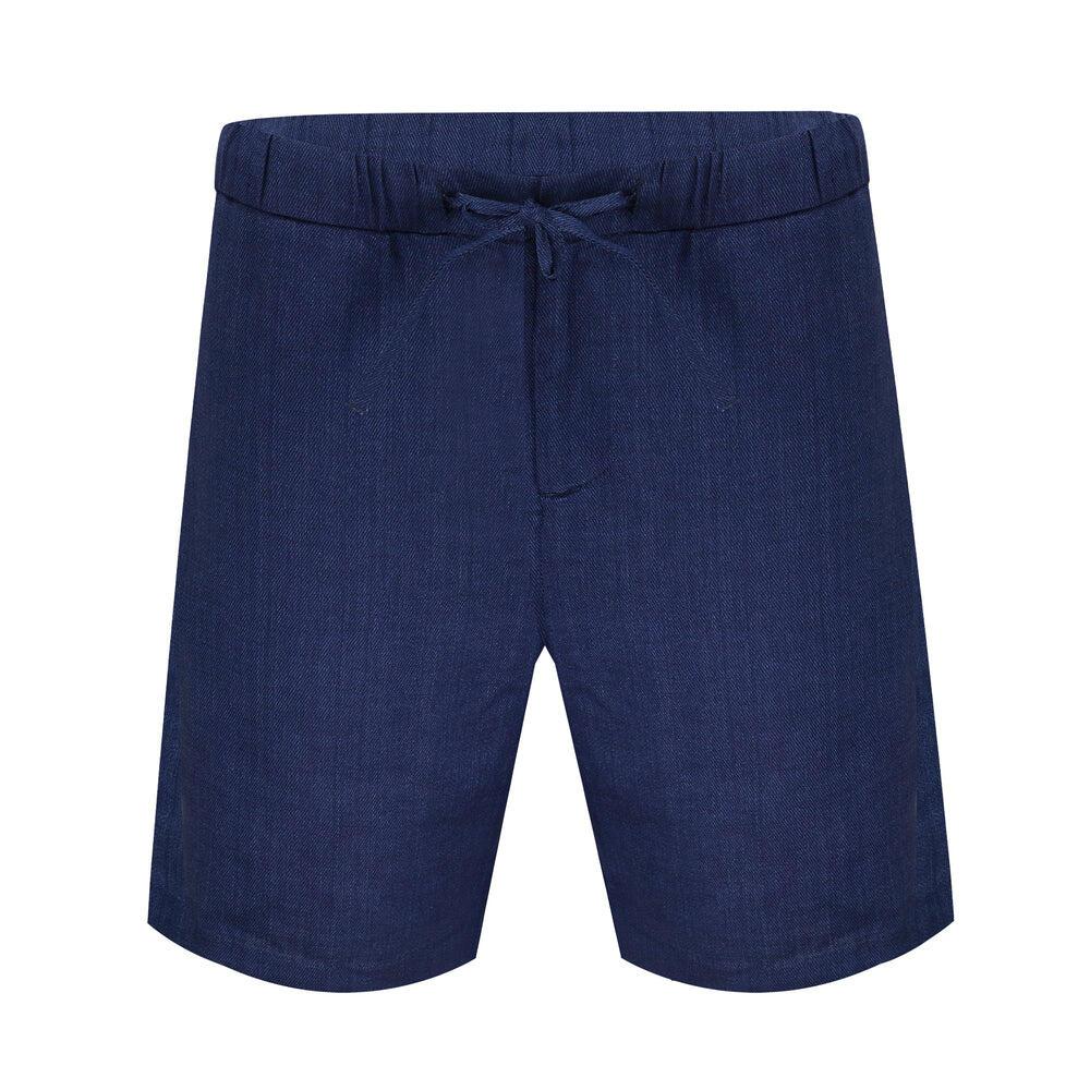 Linen Shorts Sport Block Navy Blue