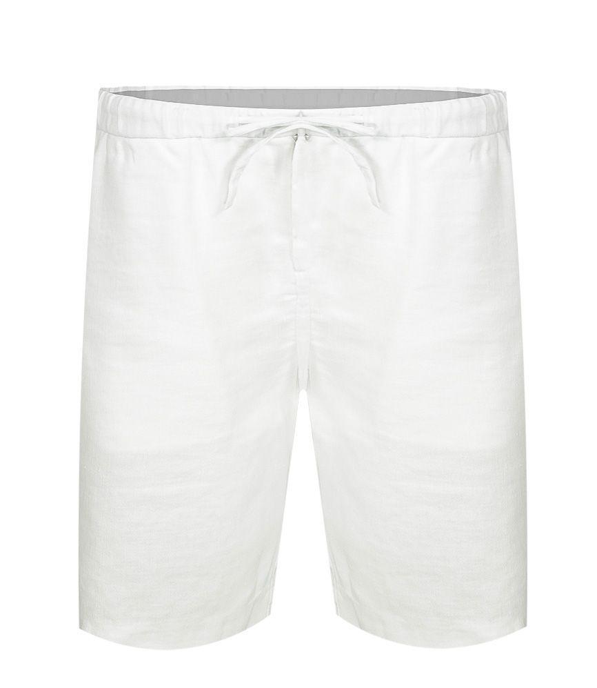 Mens White Linen Shorts