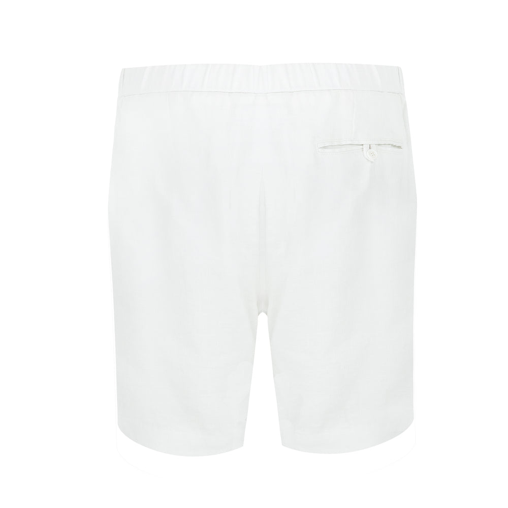 linen drawstring shorts in white