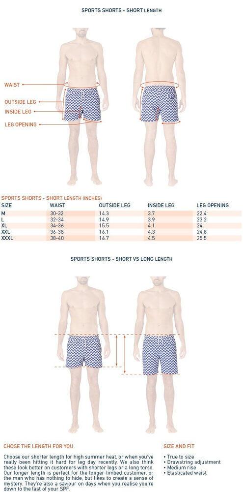 size chart for designer swim trunks