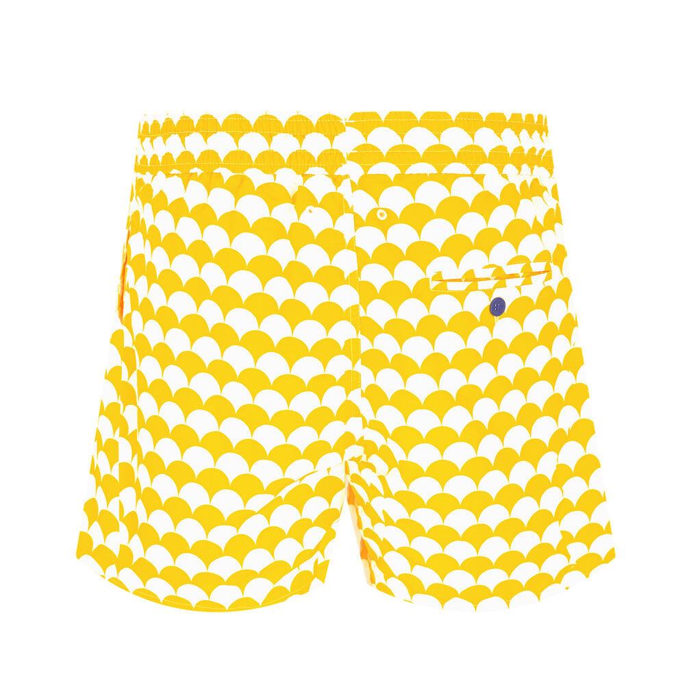mens designer swim shorts in bright yellow