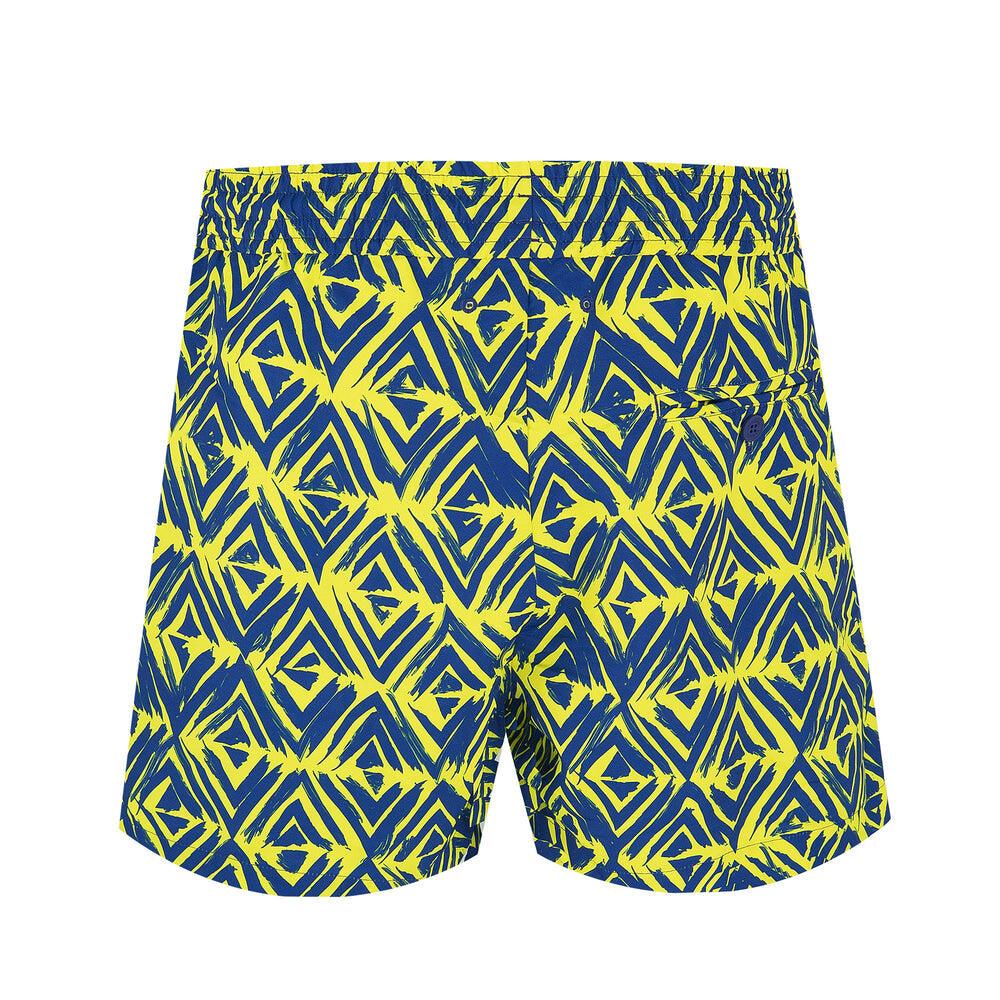 blue and yellow swim trunks