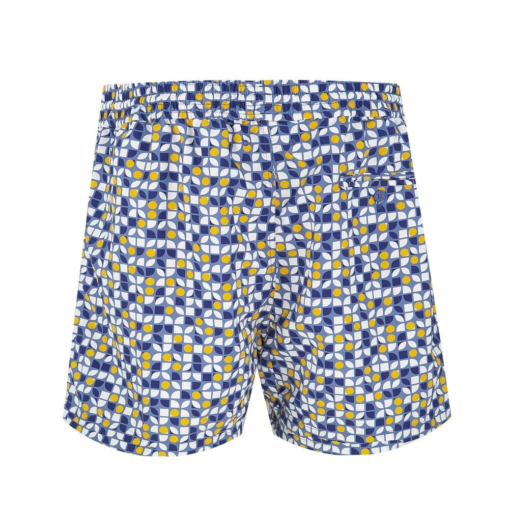 short board shorts in moasic pattern