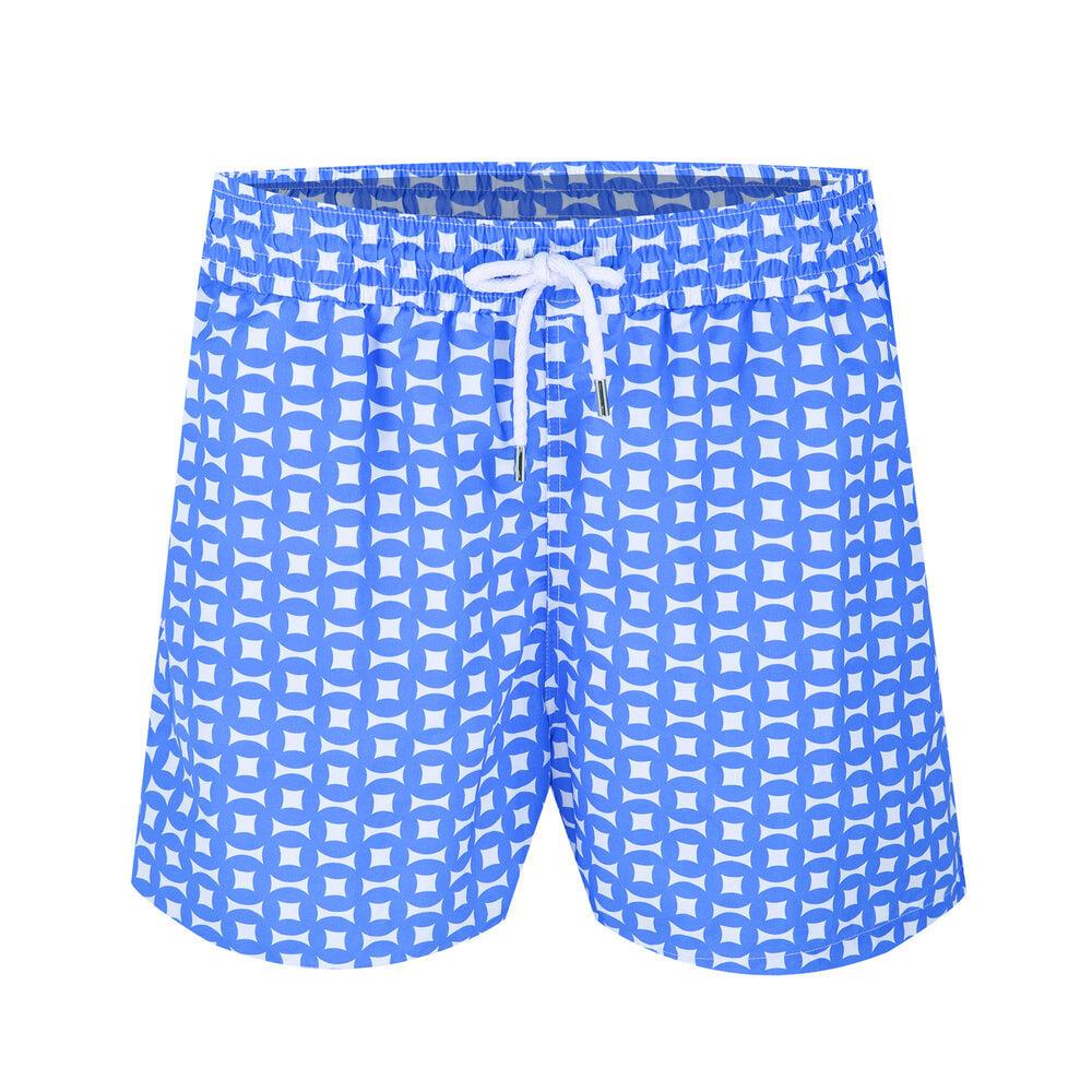 Blue Swim Shorts in Geometric Print