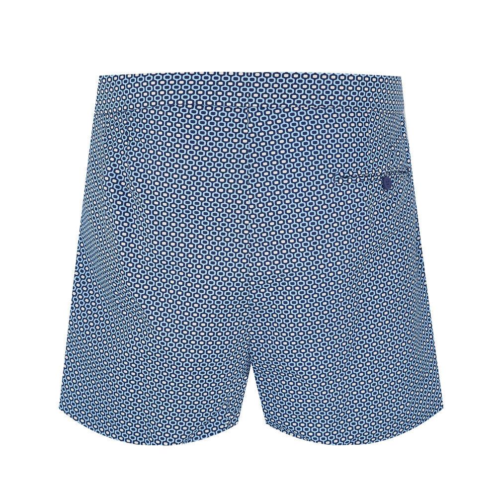 Tailored Designer swim shorts in dark blue pattern