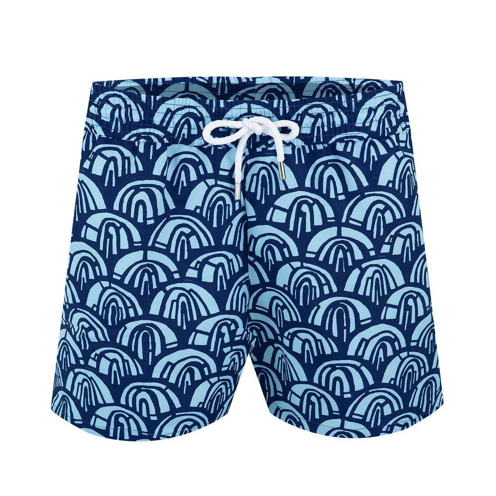 mens designer swim trunks in blue | boho swim trunks for men
