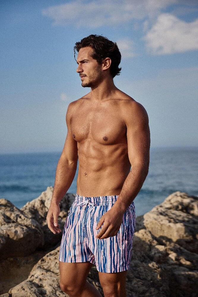 man wearing  pink swim shorts with quick drying polyamide