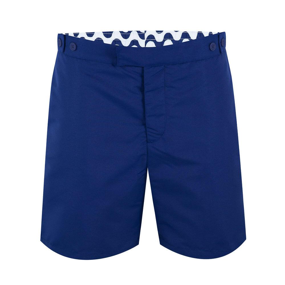 mens knee length tailored swim trunks in navy blue
