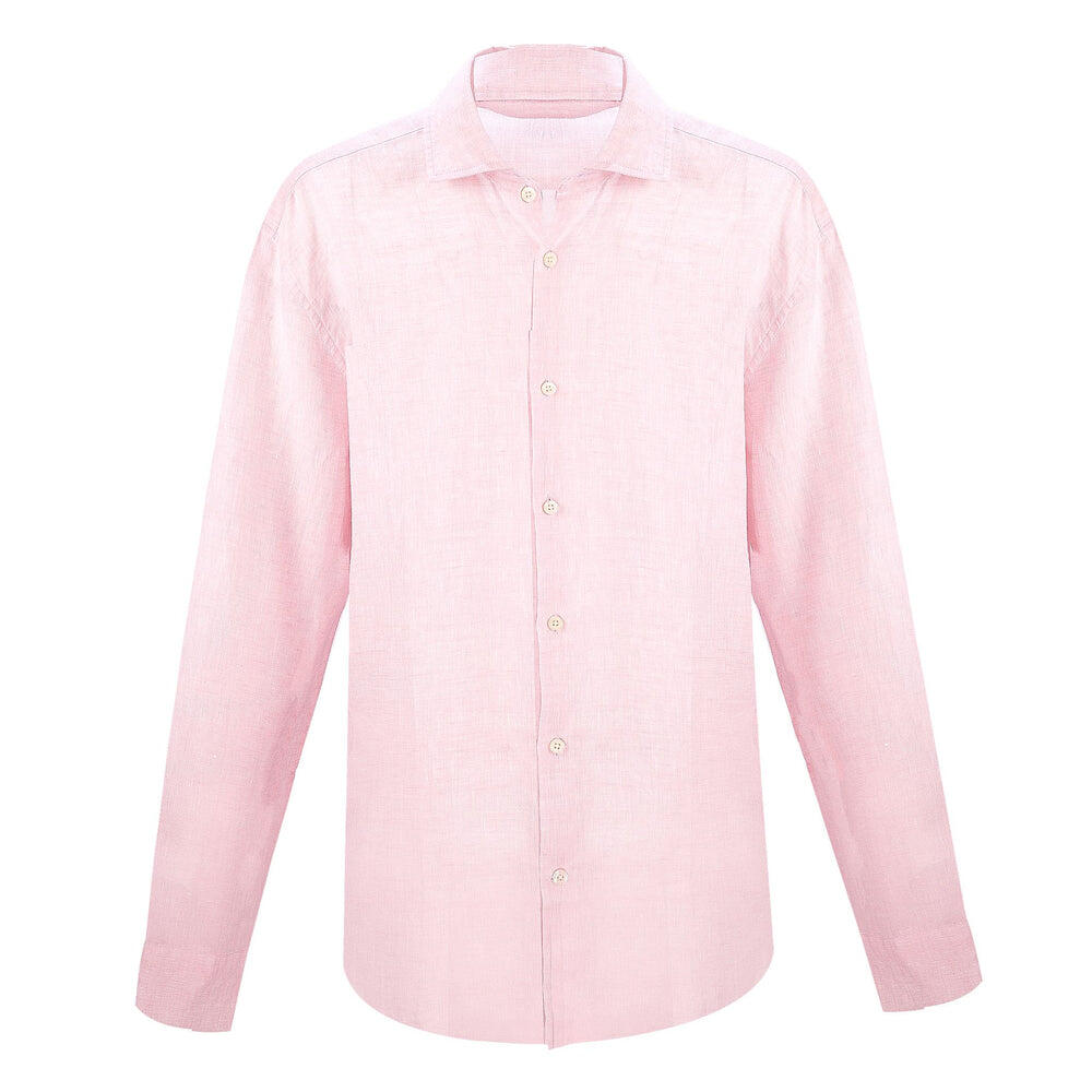 Linen Long Sleeve Shirt in Light Pink