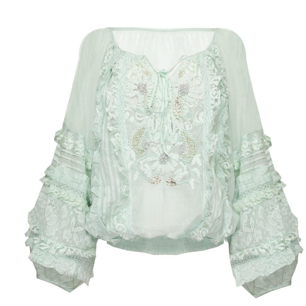 Blouson Lace Decorated Mint/Silver