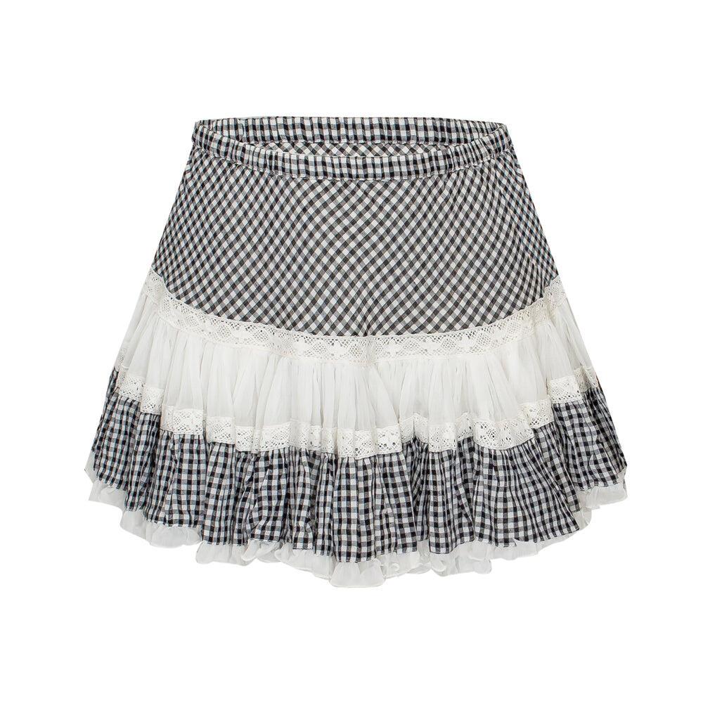 Skirt Short Frill Black/White Check