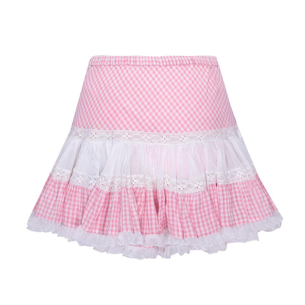 Skirt Short Frill Light Pink/White/Check