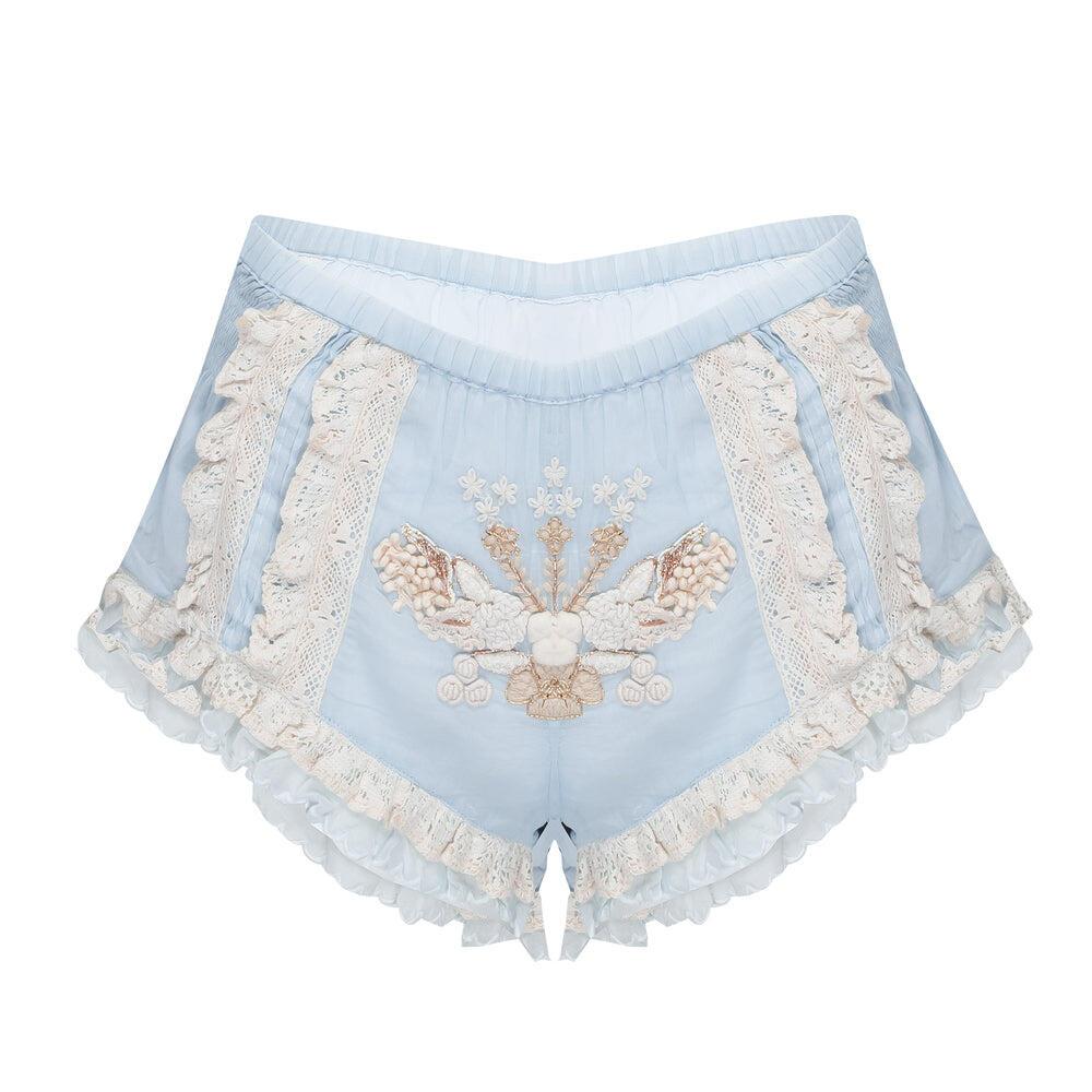 Pants Short Smock Light Blue/Ecru