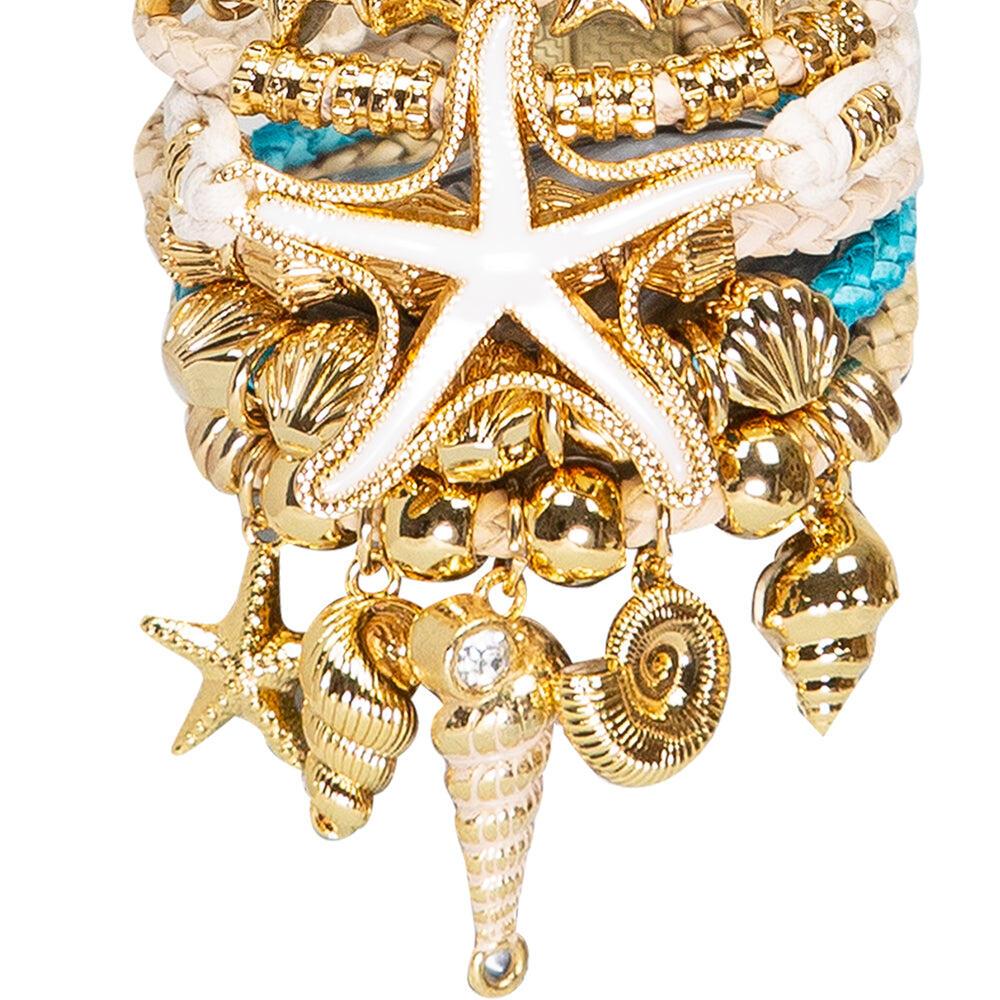 Gold Set White Starfish Bracelet