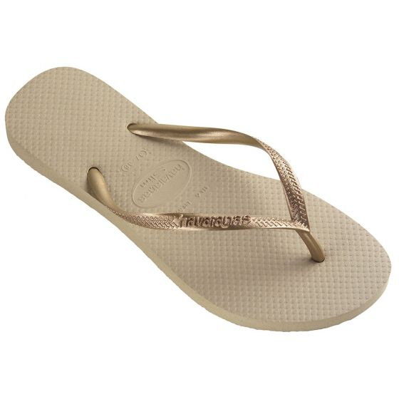 Womens Slim Gold Flip Flops