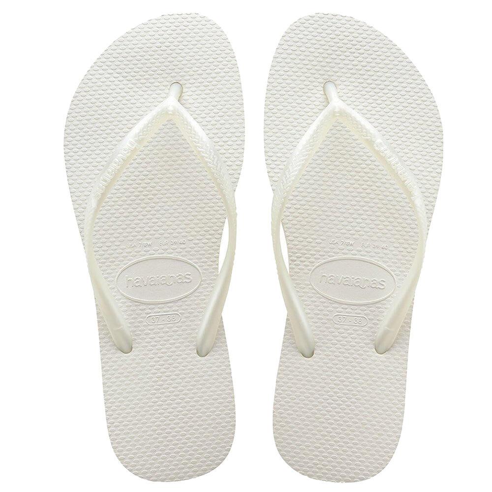 Womens Slim Flip Flops White