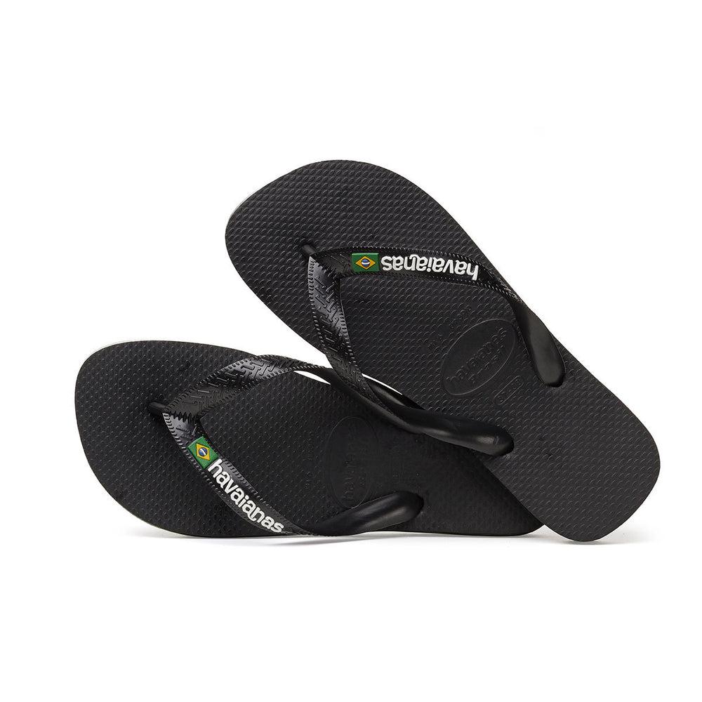 Men Brasil Logo Flip Flops Black