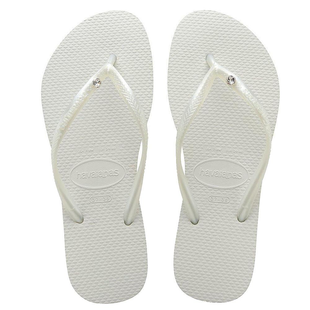 Slim Swarovski Crystal Glamour Flip Flops White/Metallic