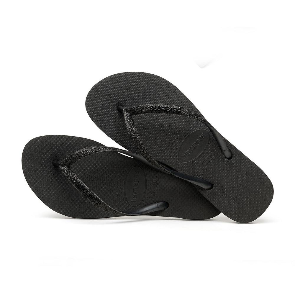Slim Glitter Flip Flops Black