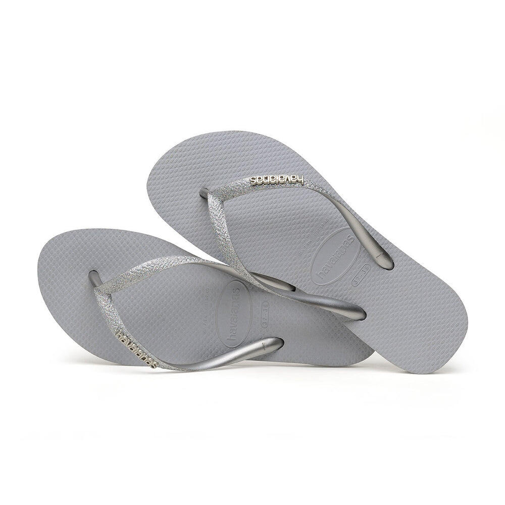 Slim Glitter Flip Flops Steel Grey