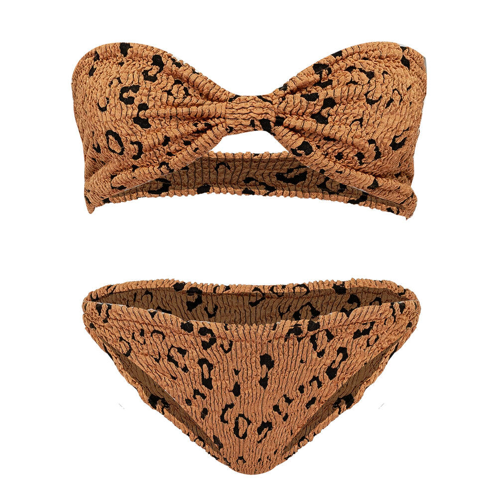 Jean Bikini Metallic Copper Leopard