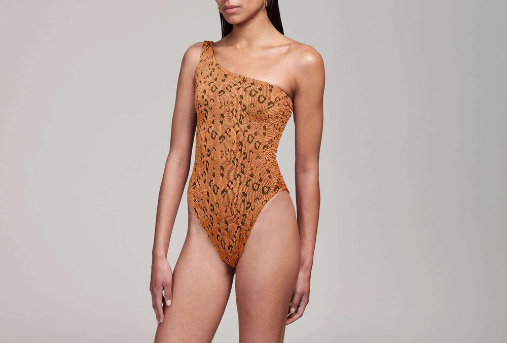 Nancy Swimsuit Metallic Copper Leopard