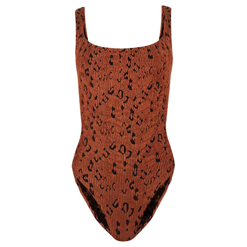 Classic Square Neck Swimsuit Metallic Rust Leopard