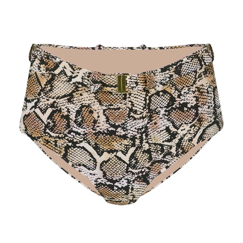 Belted High Waist Snake Bikini Bottoms