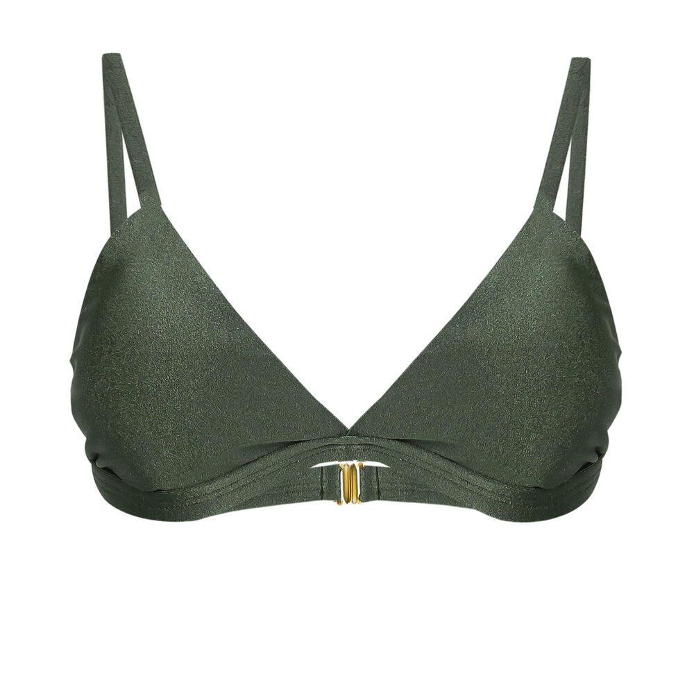 Triangle Crocodile Green Bikini Top