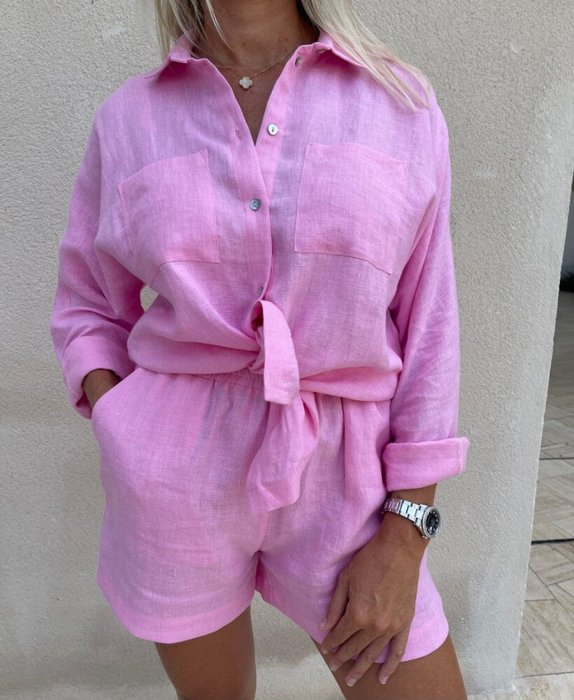 Neon Pink Linen Shorts