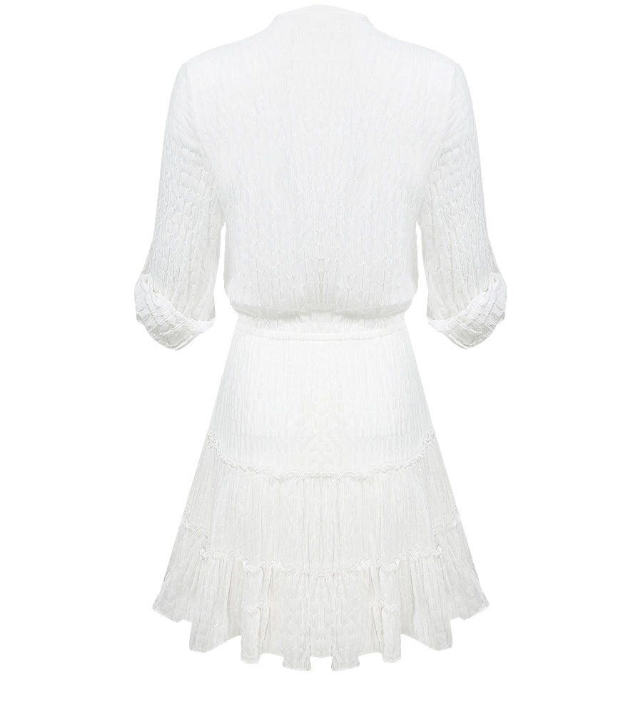 Button Tab Sleeve Crinkle Skater Dress White