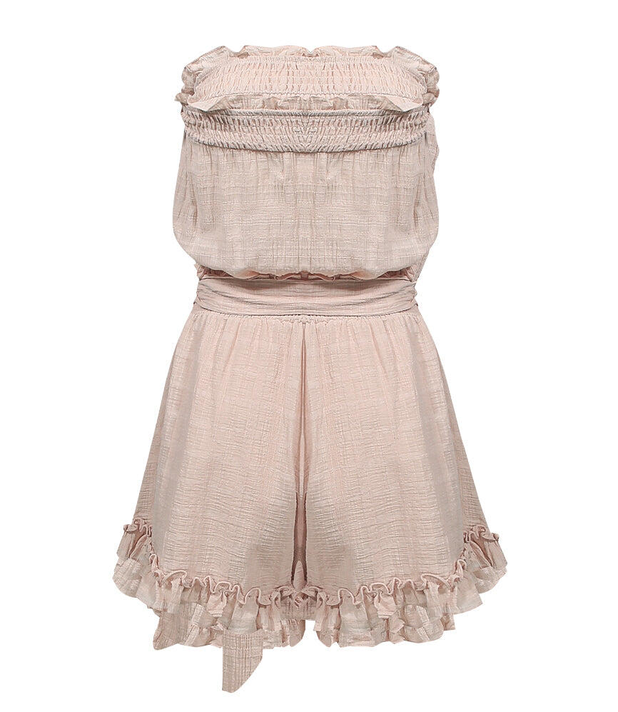 Strapless Frill Playsuit With Belt Beige