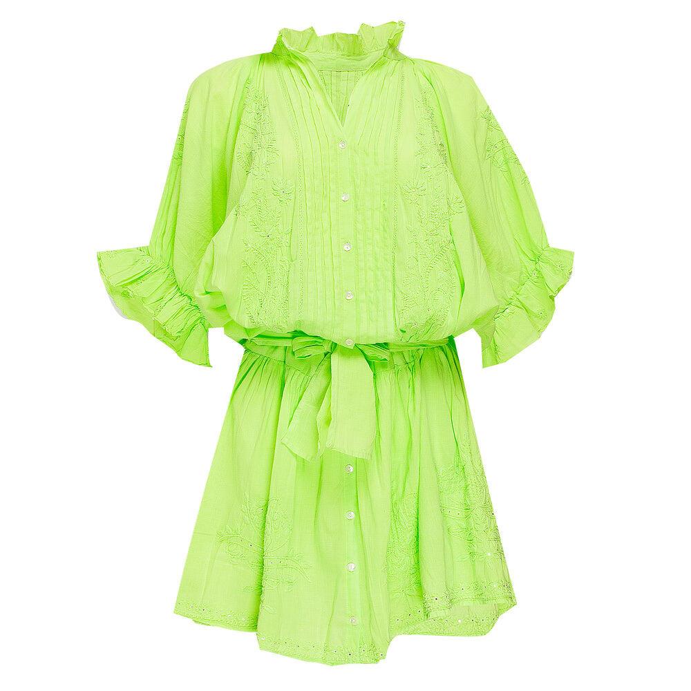 Blouson Dress With Tonal Lotus Embroidery Neon Lime