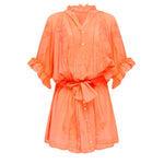 Blouson Dress With Tonal Lotus Embroidery Neon Orange