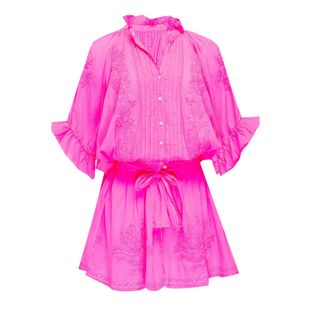 Blouson Dress With Tonal Lotus Embroidery Neon Pink