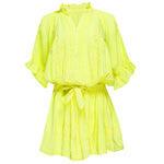 Blouson Dress With Tonal Lotus Embroidery Neon Yellow