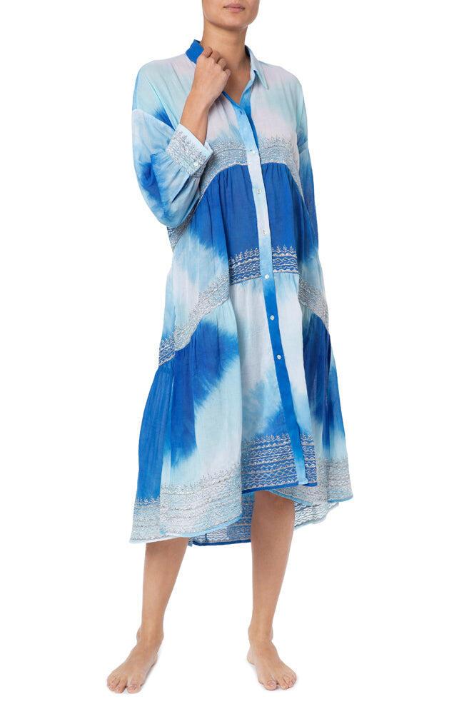 Diamond Tie Dye Oversized Shirt Dress Turq/Blue/Silver