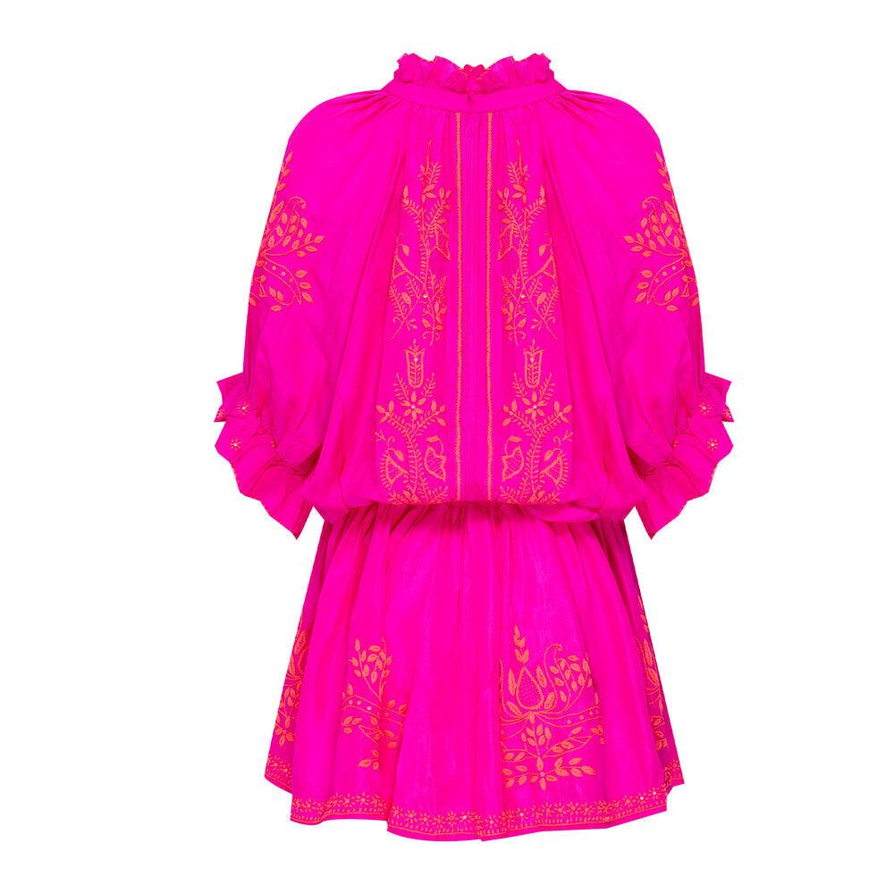 Fuchsia Silk Blouson Dress With Neon Pink Embroidery