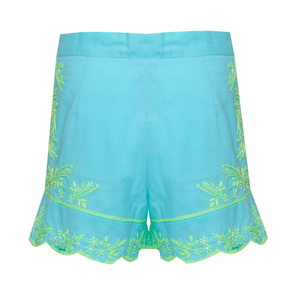 High Waisted Shorts With Lotus Embroidery-Lined Aqua/Neon Yellow