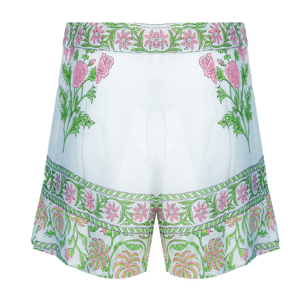 High Waisted Shorts With Poppy Block Print-Lined White/Pink Neon