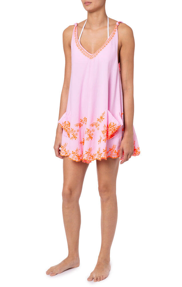 Low Back Swing Dress With Lotus Embroidery