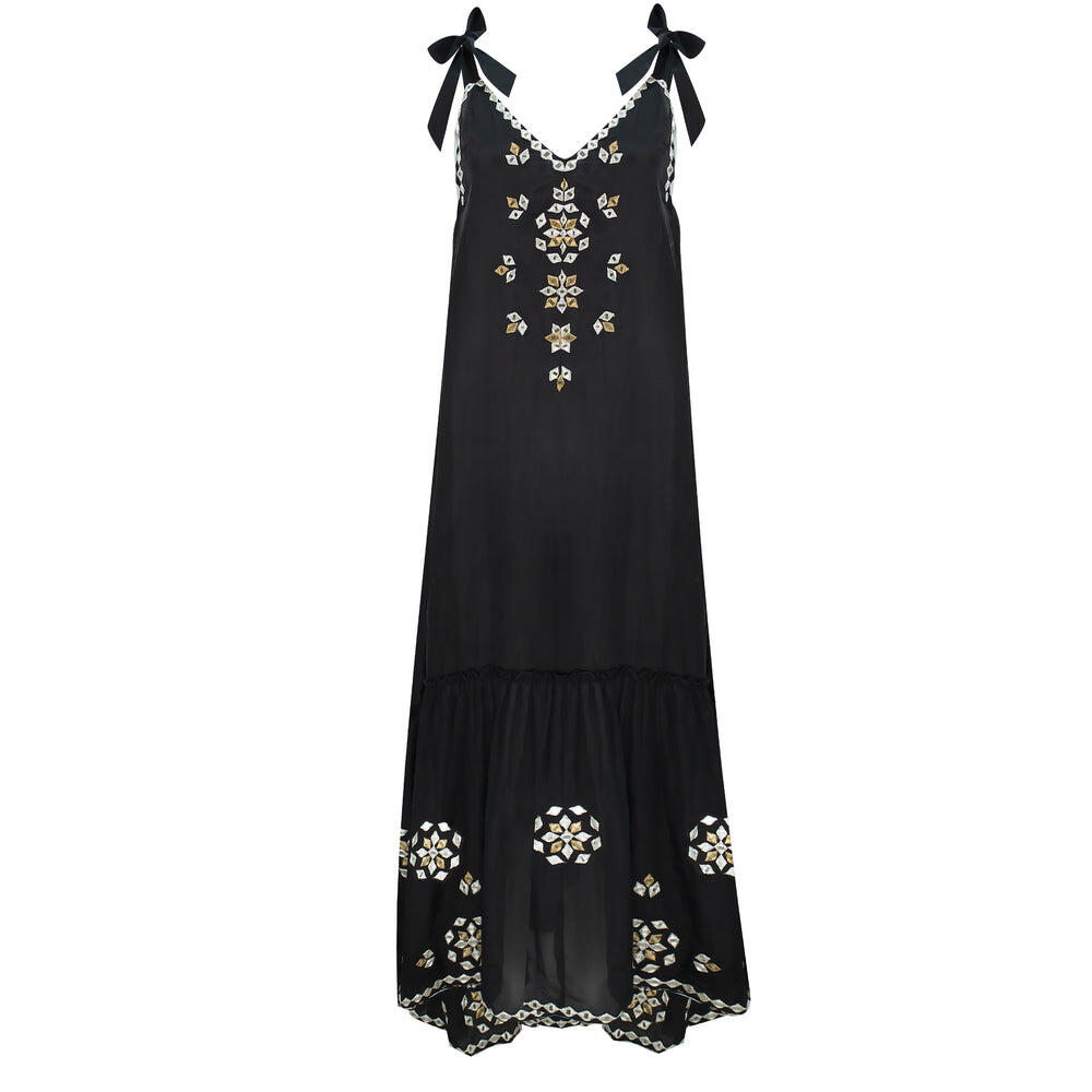 V-Neck Maxi Dress With Mirror Embro Black