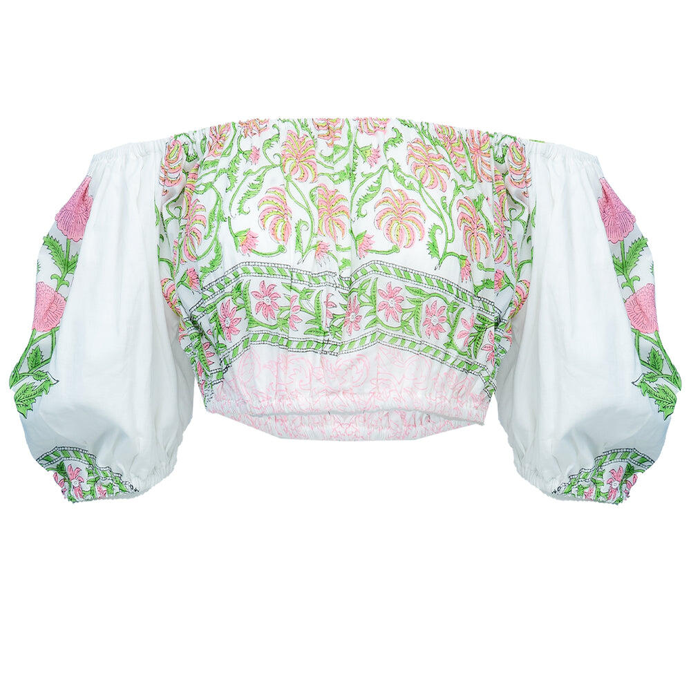 Mini Puff Top With Poppy Block Print-Lined White/P.Pink Neon