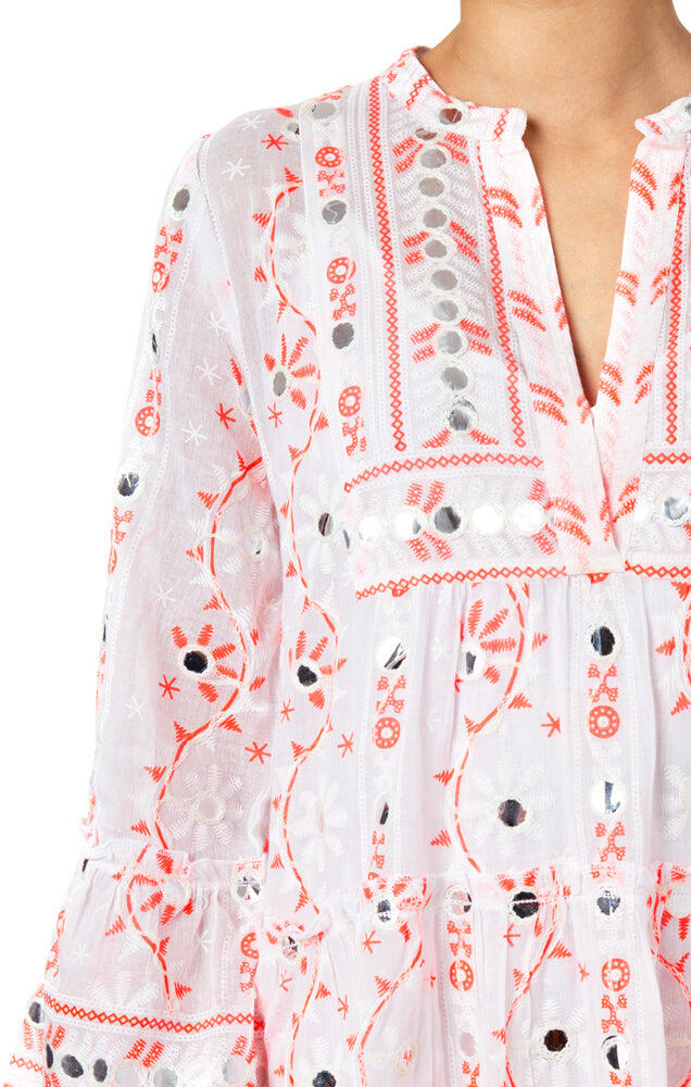 Nomad Print Flared Sleeve Dress White/Neon Red