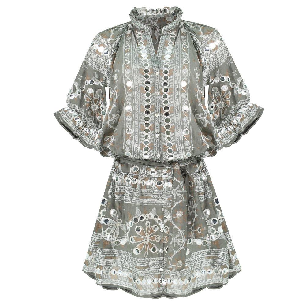 Nomad Print Blouson Dress Slate/White