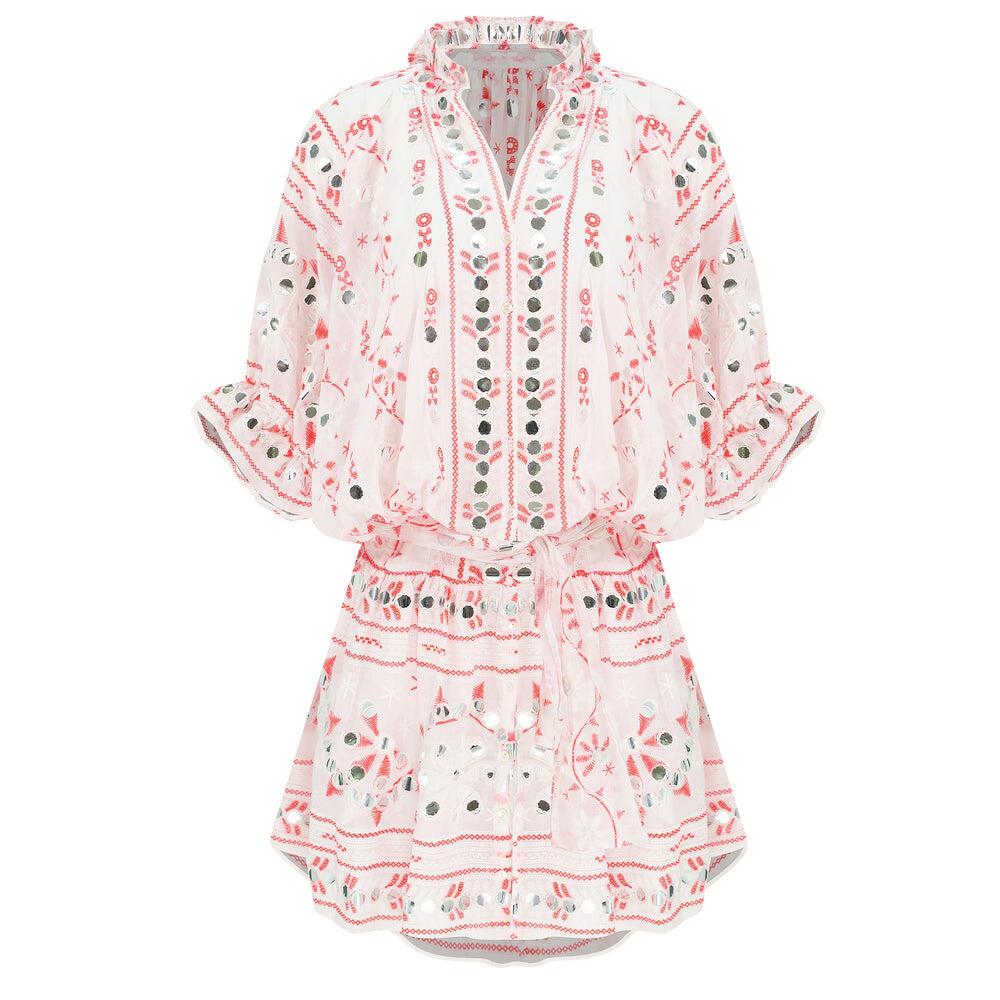 Nomad Print Blouson Dress White/Neon Red