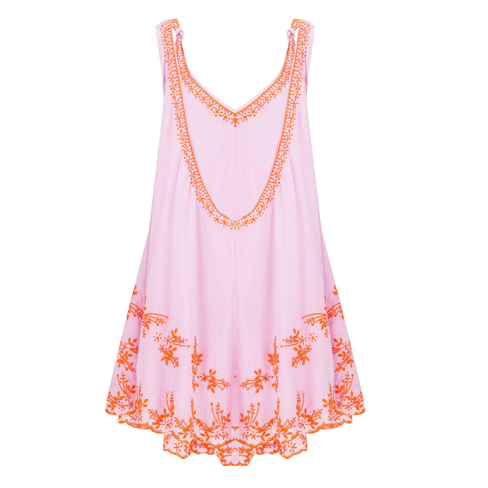 Low Back Swing Dress With Lotus Embroidery-Lined