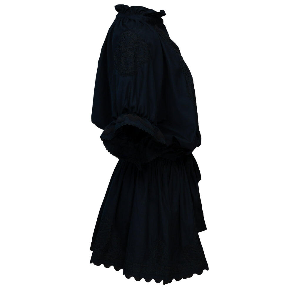 Poplin Blouson Dress With Ric Rac Embroidery Black
