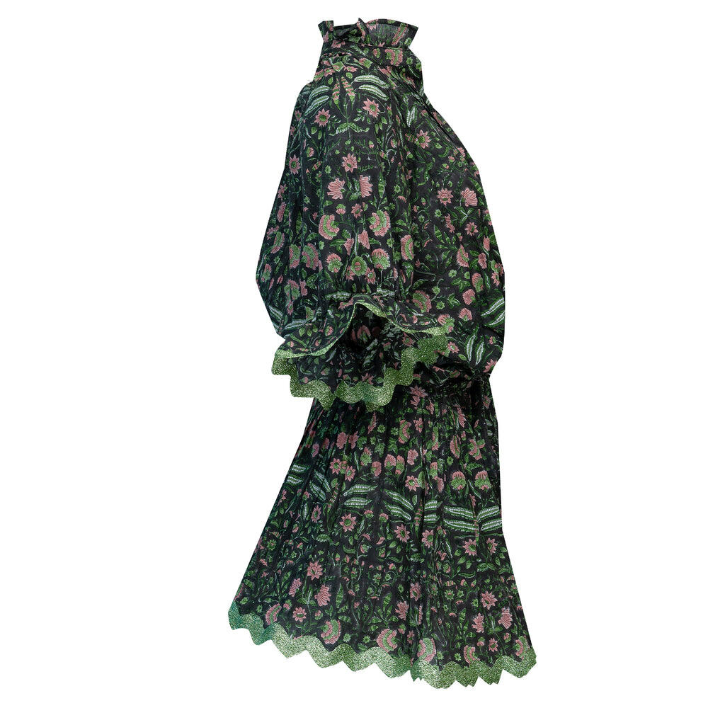 Temple Flower Print Blouson Dress With Sash Ties Black/Pistachio